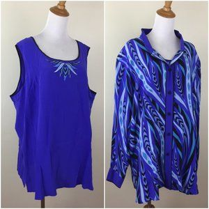 NWT BOB MACKIE QVC 100% Silk Top & Button Shirt